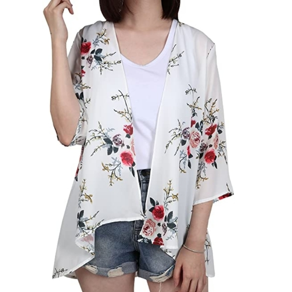Sweaters - 3/4 sleeve white floral chiffon open cardigan